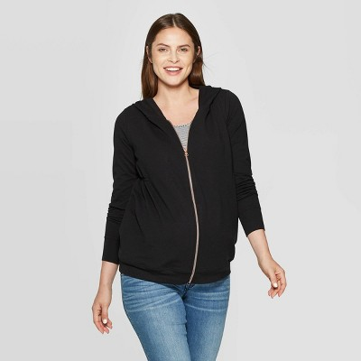 Maternity Zippered Hoodie Sweatshirt - Isabel Maternity by Ingrid & Isabel™ Black XXL