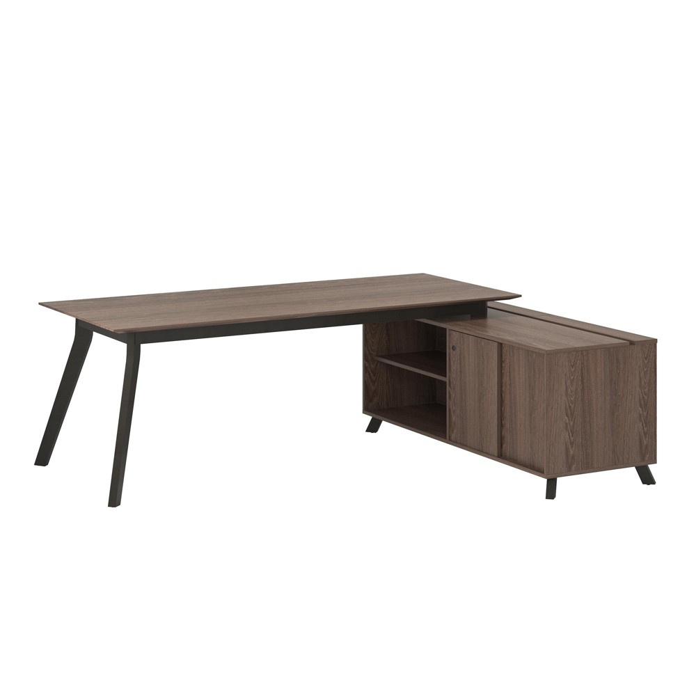 Image of Ax1 L Shape Desk and Storage Cabinet Bundle Brown - Ameriwood Home