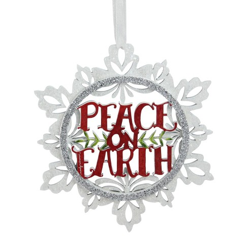 Peace Christmas Ornament.Roman 5 5 Glittered Peace On Earth Cut Out Wooden Christmas Ornament White Silver