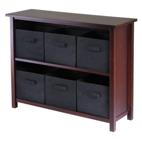 30 2 Shelf Verona Storage With 6 Baskets Walnut Black