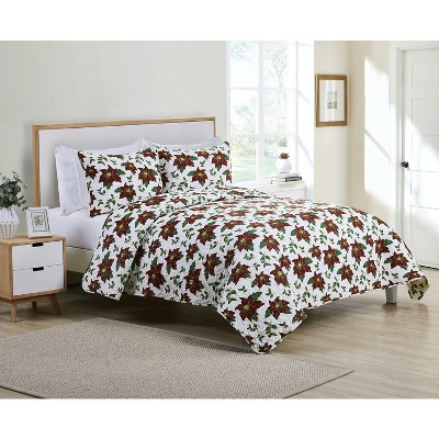 Kate Aurora Holiday Living 3 Piece Christmas Poinsettia Quilt Blanket Set