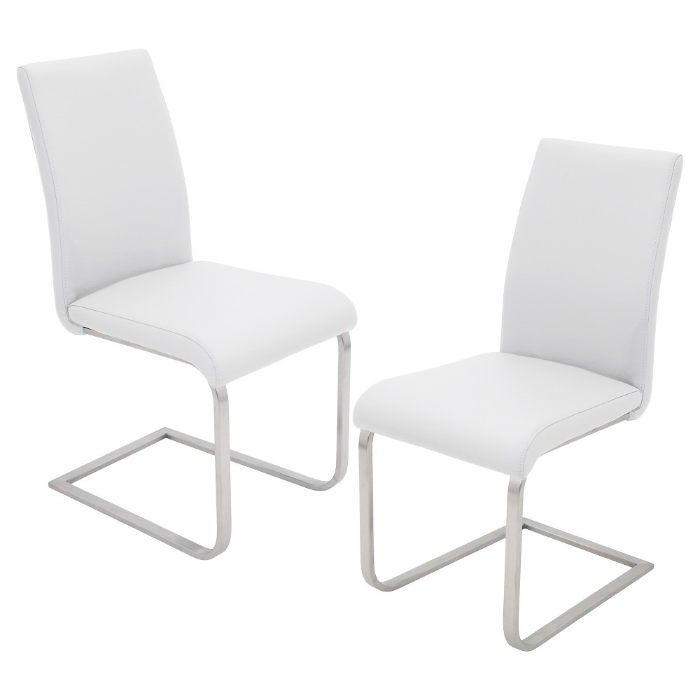 Foster Contemparary Stainless Steel Dining Chairs - White (Set of 2) - LumiSource