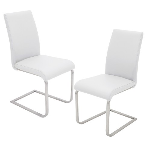 Foster Contemparary Stainless Steel Dining Chairs - White (Set of 2) - LumiSource - image 1 of 4