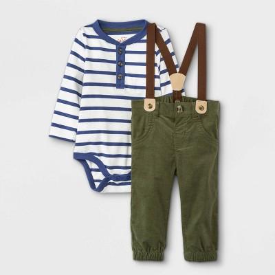 Baby Boys' Striped Henley Suspender Top & Bottom Set - Cat & Jack™ Cream 3-6M