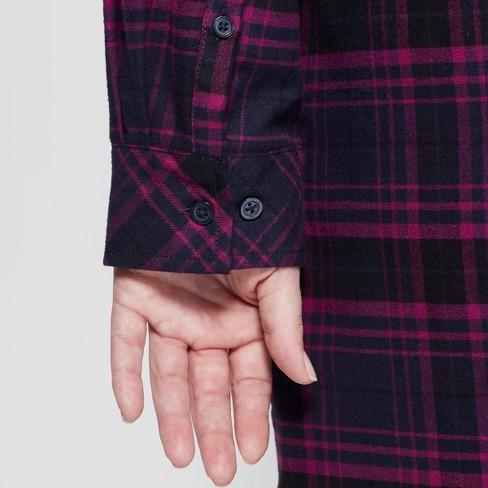 7b71691f04a Women s Plus Size Plaid Flannel Shirtdress - Ava   Viv™ Navy   Target