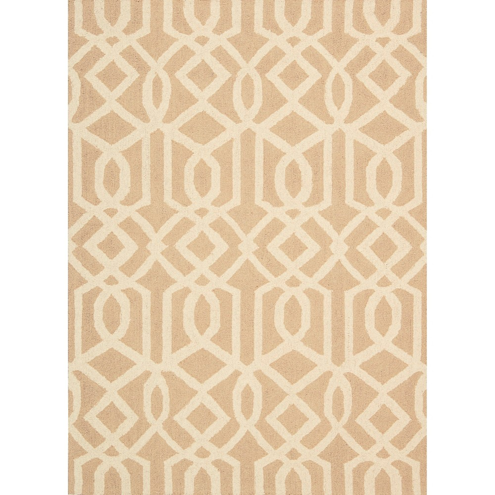 Image of Nourison Tribal Trellis Linear Area Rug - Sand/Ivory (Brown/Ivory) (5'X7')