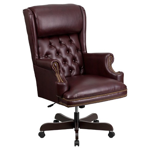 Executive Swivel Office Chair Burgundy Leather Flash Furniture