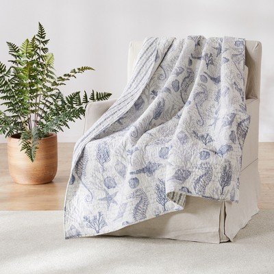 Tahiti Grey  Quilted Throw - Levtex Home