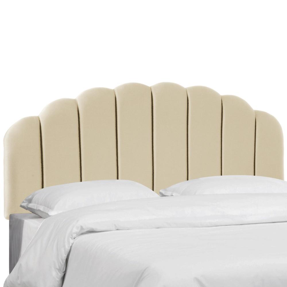 King Shell Headboard Cream Faux Silk - Skyline Furniture
