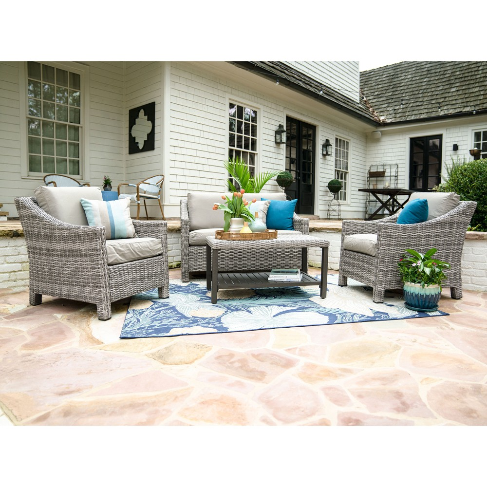 Image of 4pc Marietta All-Weather Wicker Chat Set Tan - Leisure Made