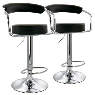 Elama 2 Piece Faux Leather Retro Adjustable Bar Stool with Chrome Handles and Base