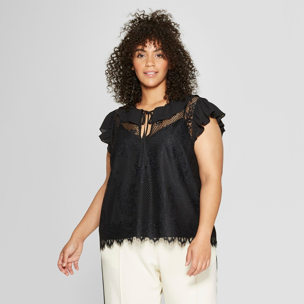 Women's Plus Size Short Sleeve Soft Ruffle Lace Shell - Who What Wear Black 4X
