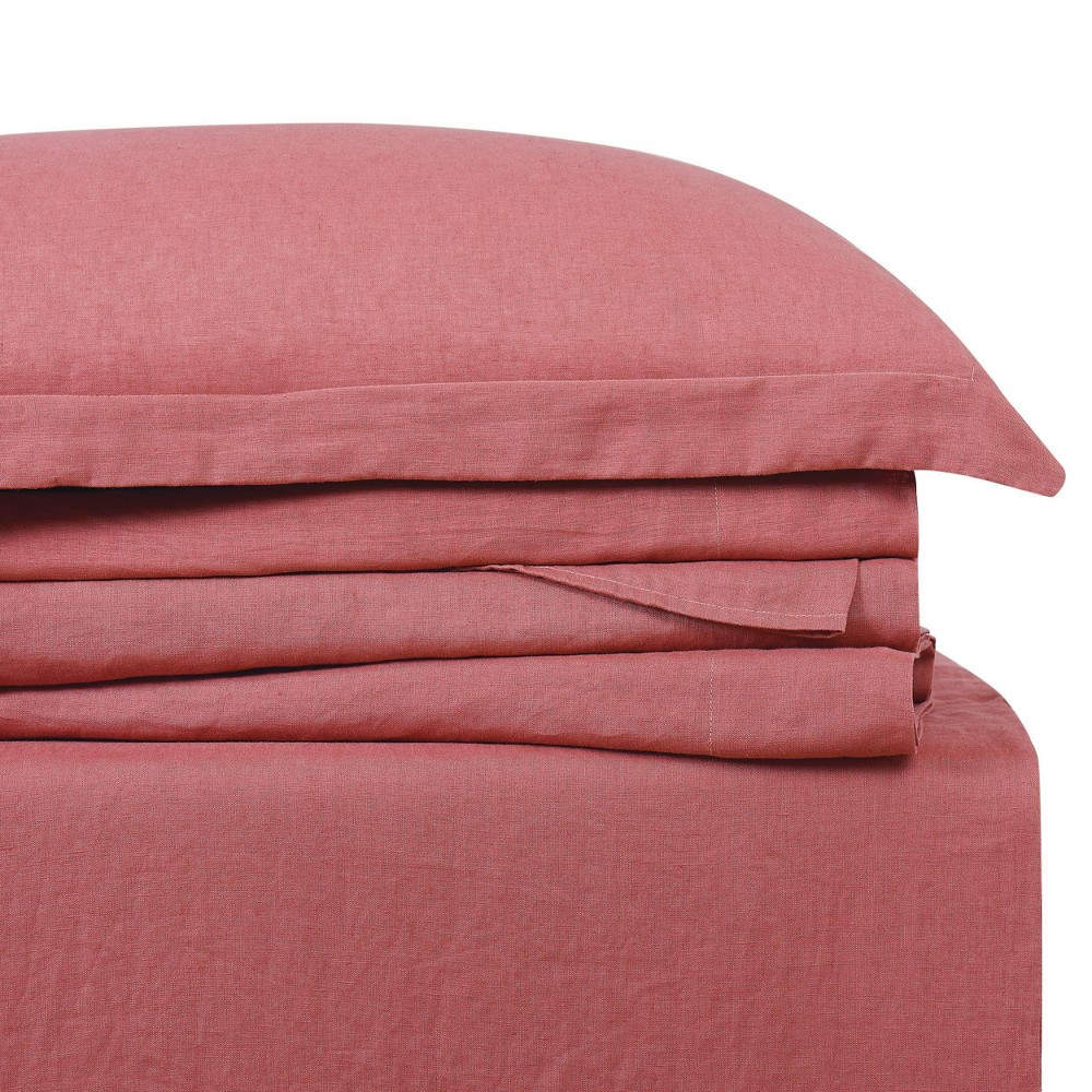 Image of California King 300 Thread Count Linen Solid Sheet Set Dusty Rose - Brooklyn Loom, Dusty Pink