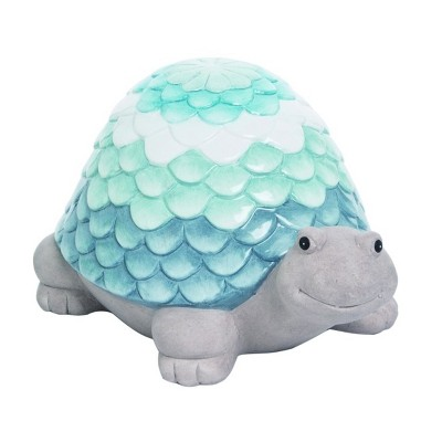 Transpac Terracotta 9 in. Blue Spring Glazed Ombre Turtle