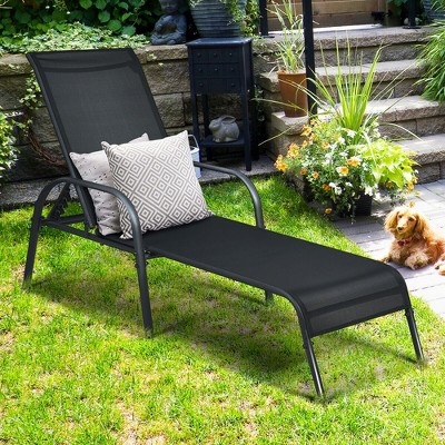Costway Patio Chaise Lounge Outdoor Folding Recliner Chair w/ Adjustable Backrest Black