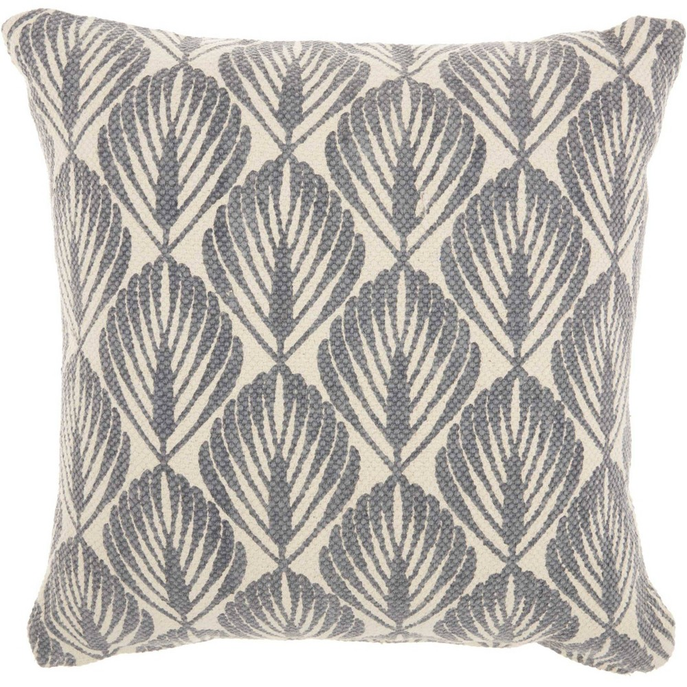 Leaves Fossil Oversize Square Throw Pillow Gray - Studio Nyc Design