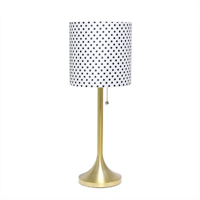Tapered Desk Lamp with Polka Dot Fabric Drum Shade Gold - Simple Designs