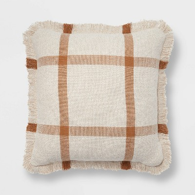 "18""x18"" Woven Plaid Square Throw Pillow with Fringe Cream/Brown - Threshold™"