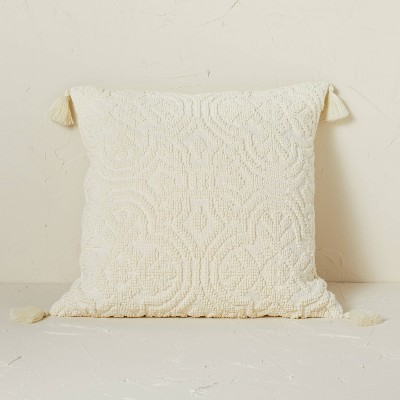 Arabesque Pattern Textured Square Throw Pillow Cream - Opalhouse™ designed with Jungalow™