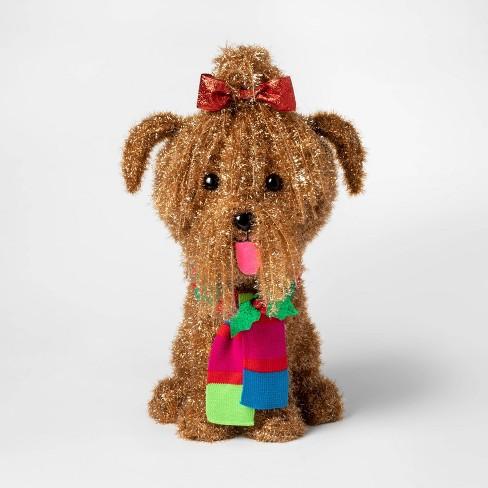 Christmas Dog.Christmas Incandescent Tinsel Yorkie Dog Novelty Sculpture With 50 Lights Wondershop