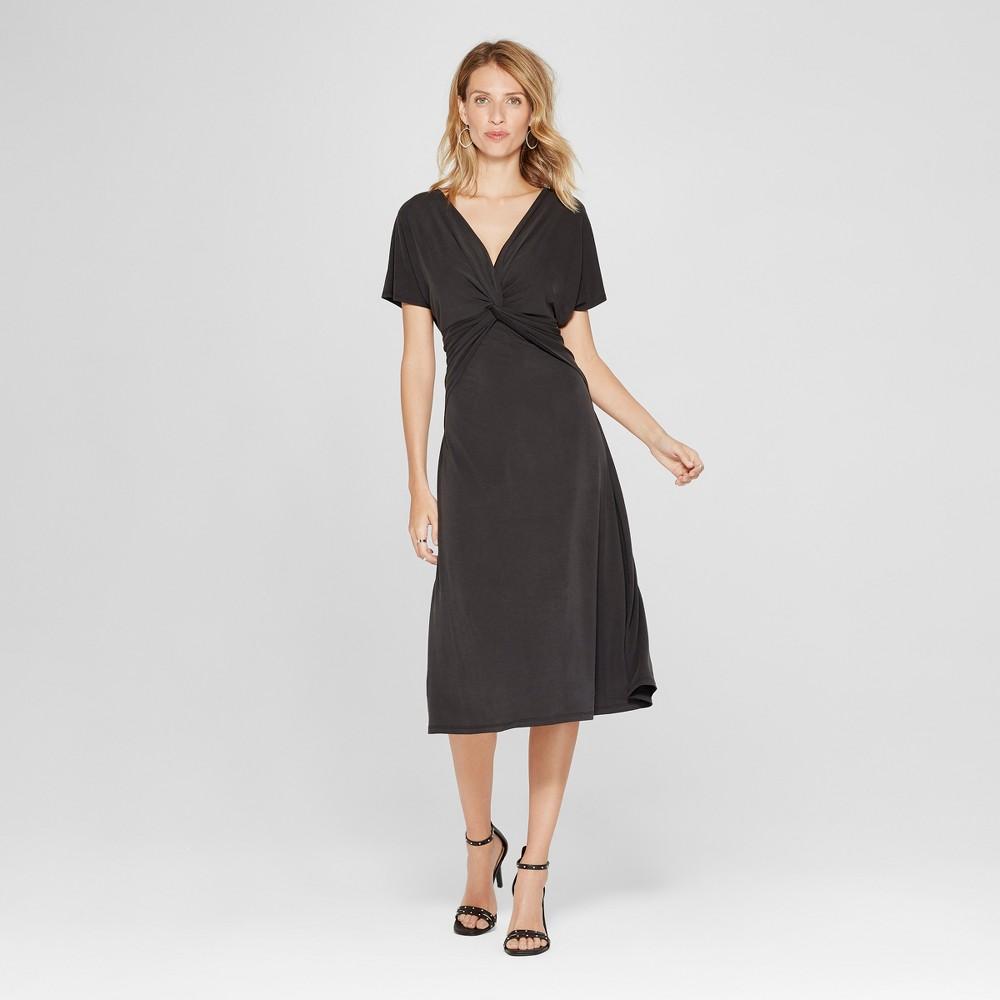 Image of Women's Cupro Twist Front Midi Dress - Spenser Jeremy - Black S, Size: Small