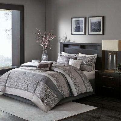 7pc King Harmony Jacquard Comforter Set - Gray/Taupe