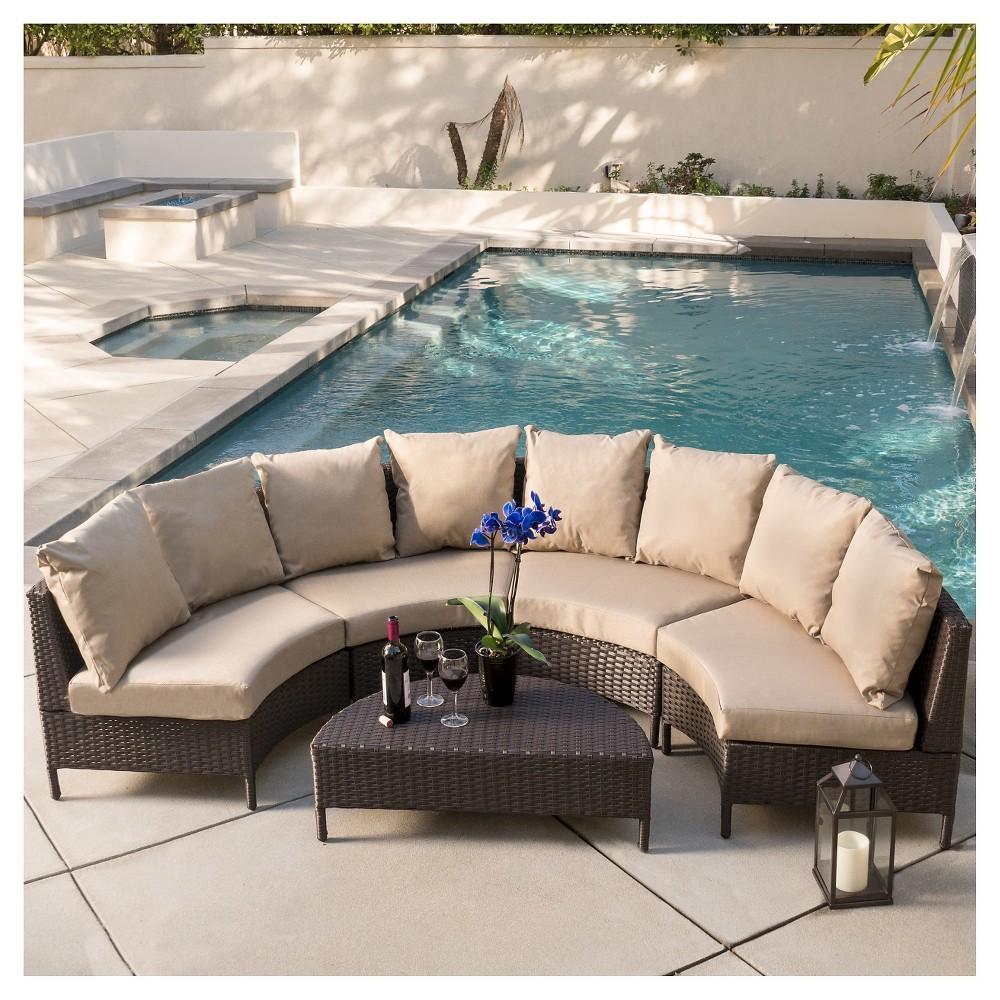 Newton 5pc Wicker Patio Lounge Set- Brown - Christopher Knight Home, Dark Brown