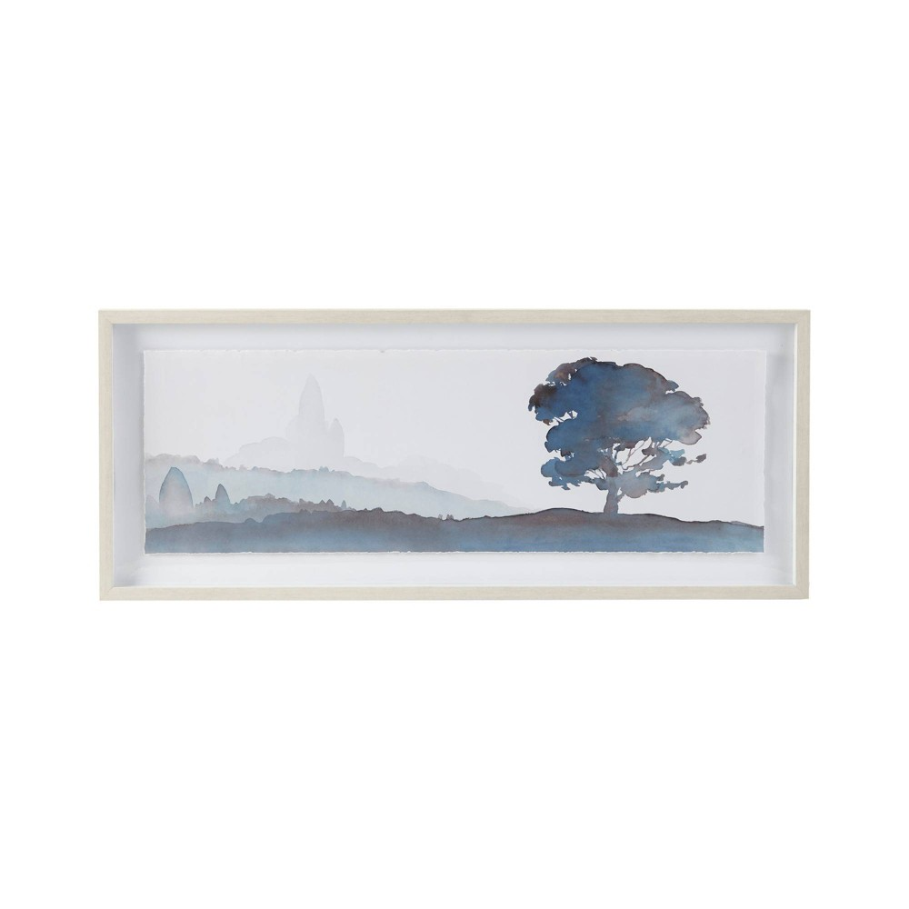 Image of Serene Silhouette Glass Framed Graphic Scenery with Single Floating Mat Blue