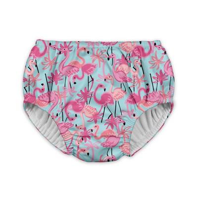 Baby Girls' Flamingo Reusable Swim Diaper - Aqua 12M - i play.®