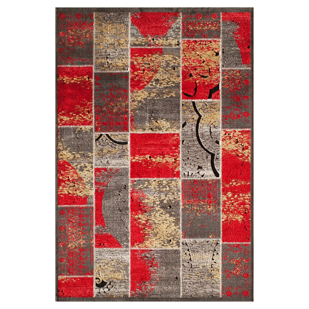 5'X7'6 Shapes Area Rug Red