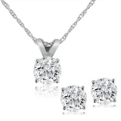 Pompeii3 1/2 ctw Diamond Solitaire Necklace & Studs Earrings Set 14K White Gold
