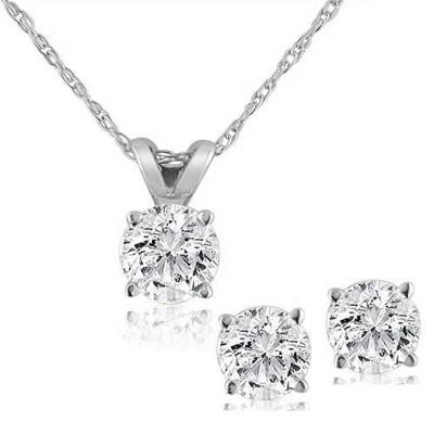 Pompeii3 1ct Diamond Solitaire Necklace & Studs Set 14K White Gold
