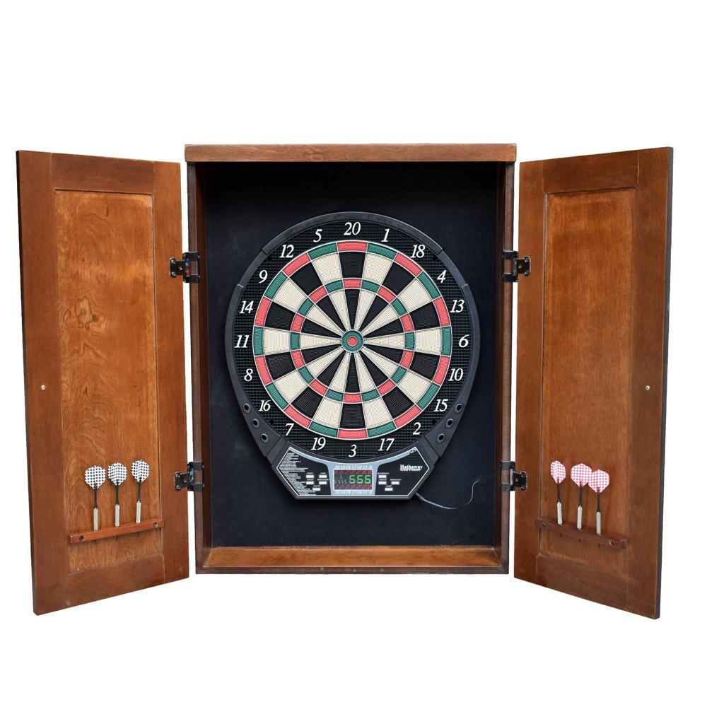 Hathaway Brookline Electronic Dartboard Cabinet Set - Walnut