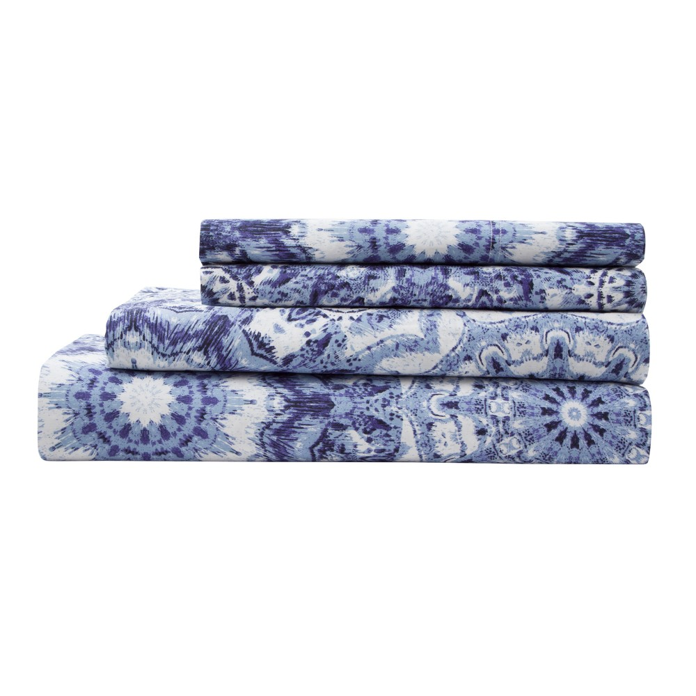 Image of 300tc Radial Cotton Print Sheet Set - Indigo (Blue) - California King