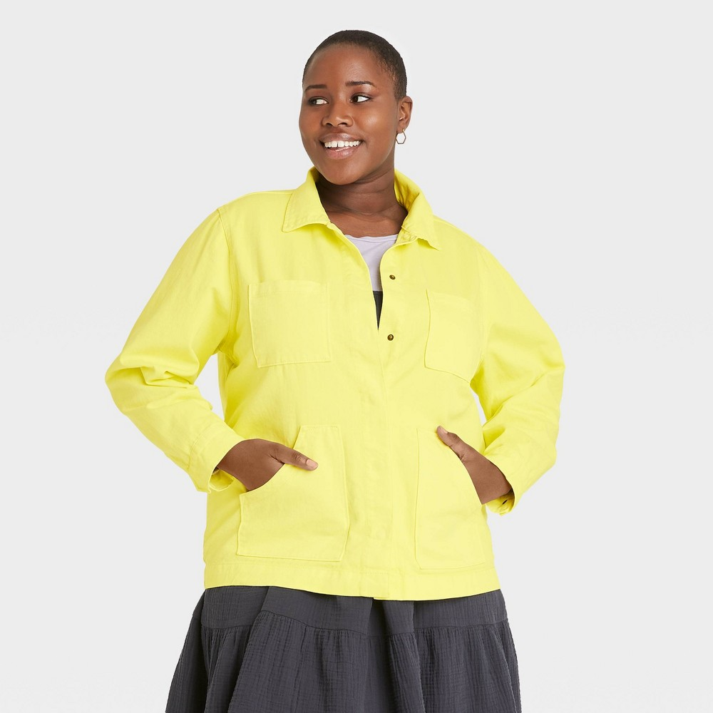 Women 39 S Plus Size Long Sleeve Chore Jacket Universal Thread 8482 Yellow 1x