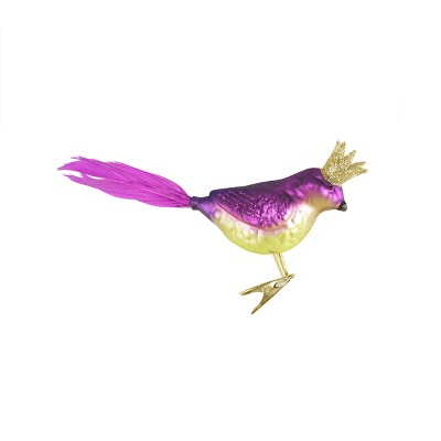 """Ganz 8"""" Glass Bird with Crown Clip-On Christmas Ornament - Purple"""