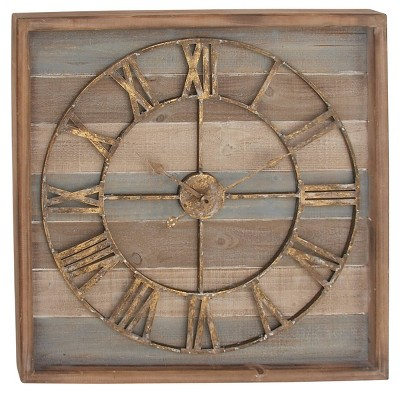 """30"""" x 30"""" Extra Large Square Striped Wood Wall Clock with Roman Numerals - Olivia & May"""