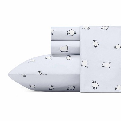 Queen Printed Pattern Percale Cotton Sheet Set Sheep - Poppy & Fritz