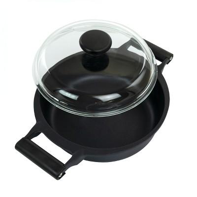 Gibson Cuisine Venus 4 Quart Nonstick Aluminum Braiser Pan with Borosilicate Glass Lid in Black