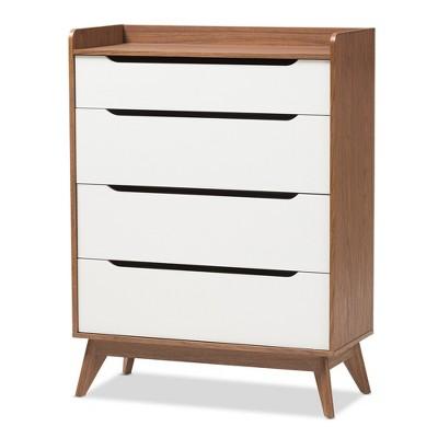 Brighton Mid-Century Modern Wood 4 Drawer Storage Chest Brown - Baxton Studio
