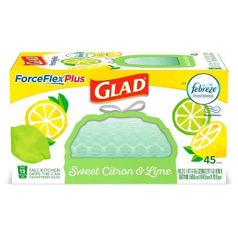 Glad ForceFlexPlus + Tall Kitchen Drawstring Trash Bags - Febreze Sweet Citron & Lime - 13 Gallon - 45ct - image 1 of 4