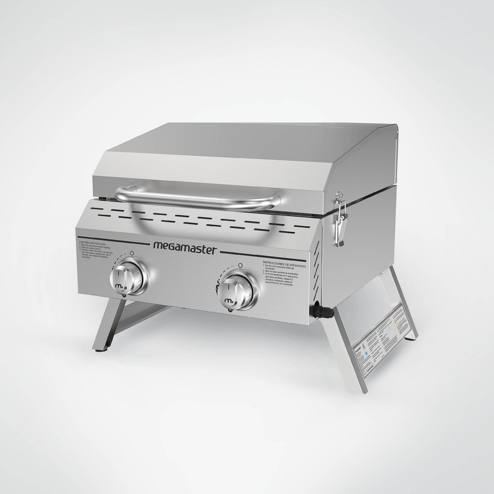 Image of Megamaster 2-Burner Stainless Steel Tabletop Gas Grill 820-0033M - Silver