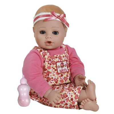 Adora Playtime Baby Flower Pink 13 inch Baby Doll with Floral Overalls, Bow Headband and Bottle