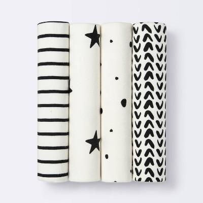 Flannel Baby Blanket - Cloud Island™ - Black/White - 4pk