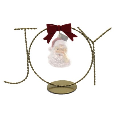 """Old World Christmas 6.0"""" Joy Ornament Stand Red Bow Displayer  -  Decorative Easels Or Stands"""