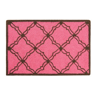 2'x3' Rectangle Hooked Stripe Accent Rug Pink - C&F Home