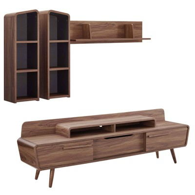 2pc Omnistand Entertainment Center Walnut/Gray - Modway