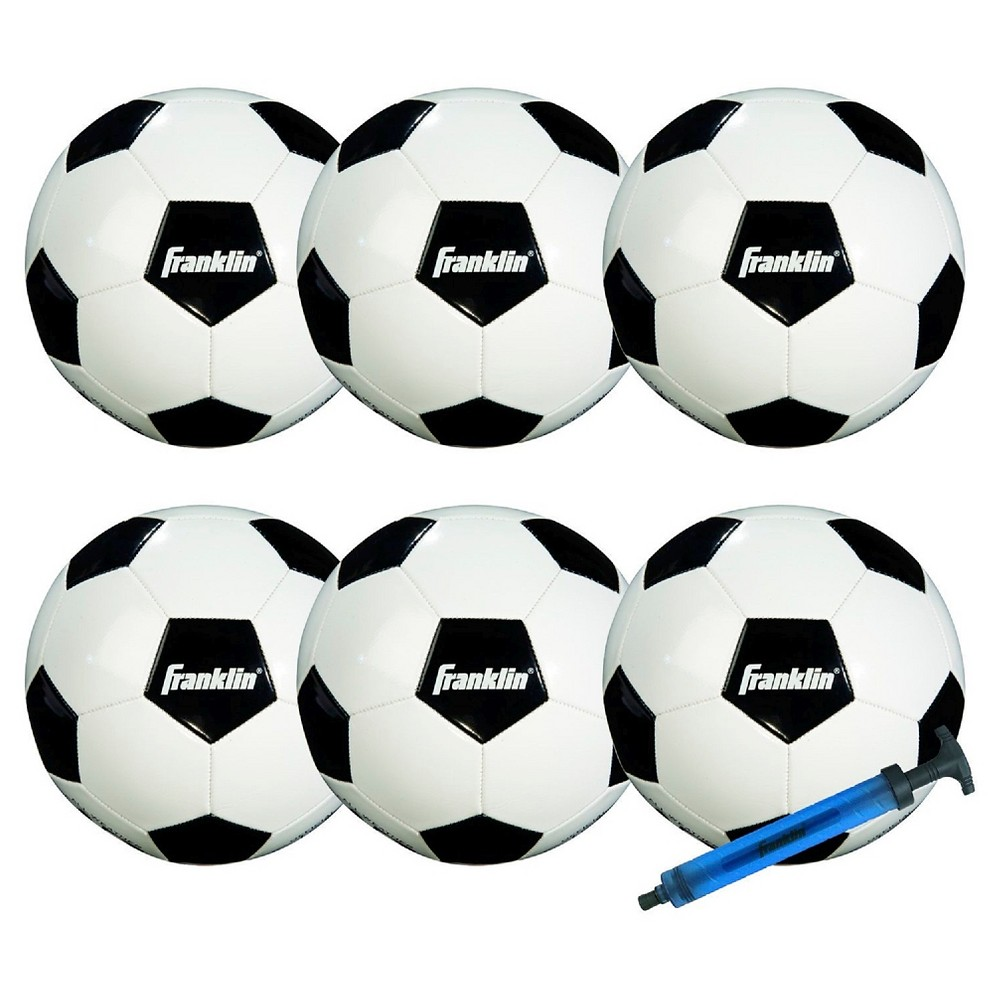 Franklin Sports Competition 100 6pk Soccerballs with Pump Size 3, Multi-Colored