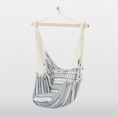Linen Striped Hammock Chair With Spreader Bar   Blue   Threshold™ : Target