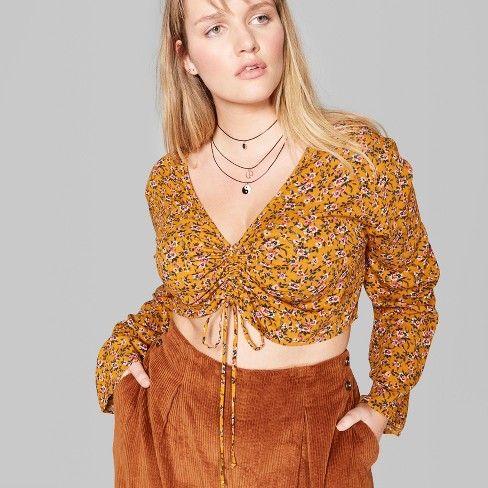 Women's Plus Size Floral Long Sleeve Ruched Front Blouse - Wild Fable™ Gold - image 1 of 3